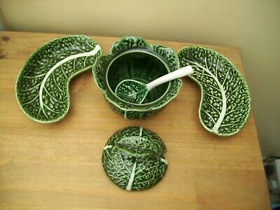 John Buck Portugal Cabbage Leaf Items Pot And Dishes VGC • 25£