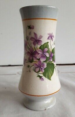 WADE Small Vintage Posy Vase With Purple Flower & Gold Rim • 18£