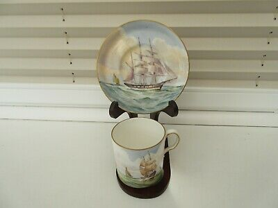 ROYAL CROWN DERBY Coffee Can & Saucer SignedW.E.J. DEAN ~ Maritime Themed 1939 • 35£