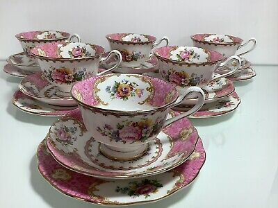 "Royal Albert ""Lady Carlyle"" C1944 Avon Shape Tea Set. Cups, Saucers Etc.... • 95£"