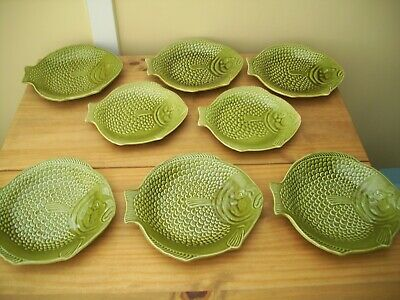 6 Large + 2 Smaller Shorter & Son Fish Plate Great Condition • 20£