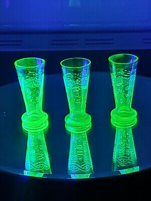 3 Small Uranium Glass Hand Painted And Enamelled Glasses  • 3.20£