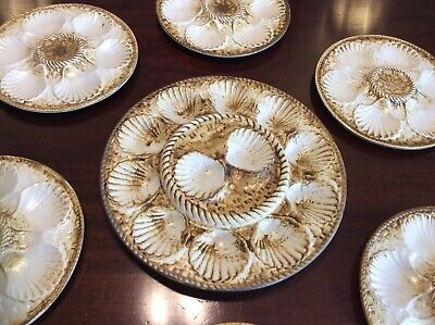 Set Of 7 French Oyster Plates • 60£