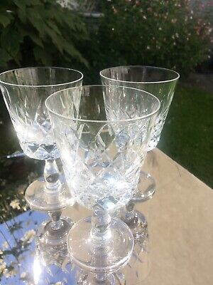 "Royal Brierley  ""oxford"" 3   Large Wine Goblets . Perfect ! • 12£"