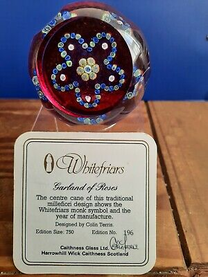 Caithness Glass Whitefriars Millefiori Garland Of Roses Paperweight 196/750 L/E • 55£