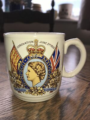 Antique Commemorative Mug For Coronation Of Elizabeth II 1953 Burleigh Ware • 0.99£