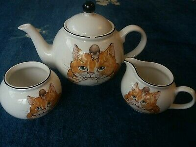 Vintage Tea Set Cat Arthur Wood Pottery Teapot Jug Bowl • 24.99£