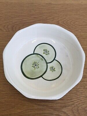 Vintage Babbacombe Pottery Devon Hand-painted Cucumber Slices Serving Dish • 5£