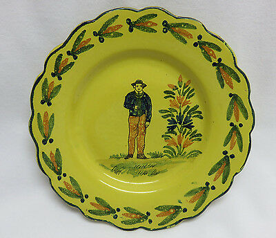 Old Quimper Pottery France Yellow Plate ~ Breton Man • 15.27£