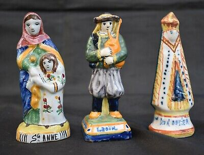 Antique French Faience Henriot Quimper Figurines Saint Anne Bagpipes • 27£