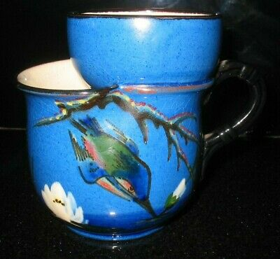 Vintage Watcombe Torquay Ware Pottery Shaving Mug Kingfisher Design • 19.99£