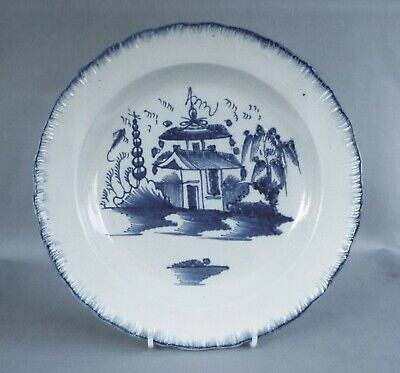 Pearlware Plate With Blue Painted Pagoda Pattern, Excellent Condition, C 1795. • 48£