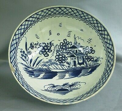 Pearlware Punch Bowl Painted In Blue. 9 3/4 Inches, C Early 1790's. • 42£