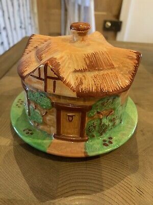 Rare Vintage  Price Bros COTTAGE WARE  Butter Dish / Cheese Dish House Shape • 19.99£