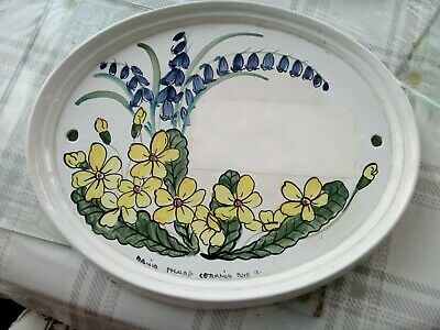 Vintage David Sharp Rye Pottery Large Plaque Primrose&bluebell Door Wall 47/52  • 15£