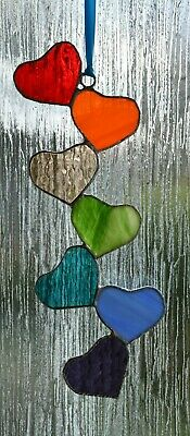 Handmade Stained Glass Cascading Rainbow Hearts Suncatcher 2 • 17.99£