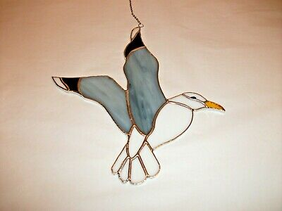 Stained Glass Handmade Wispy Grey,white Seagull Sun-catcher / Window Decoration • 13.50£