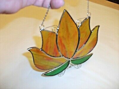 Stained Glass Handmade Lotus Flower Sun-catcher / Window Decoration • 20£