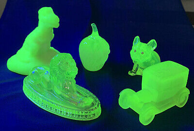 Vaseline Glass Paperweight Lot T-Rex Oscar The Lion Apple French Bulldog Car • 56.05£