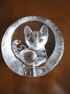 Mats Jonasson Lead Crystal Kitten With Wool Signed Paperweight • 4.19£