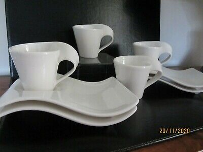 Villeroy And Boch New Wave Cups & Saucers 4 Off Set No 2 • 22£