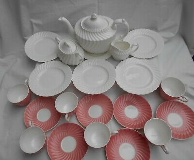 Aynsley Pink And White Swirl/Ribbed Tea Set 6x Plates Cups Saucers TPot Jug Bowl • 0.99£