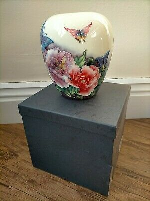 Old Tupton Ware Hand Painted Ceramic Vase - Butterfly & Floral • 3.20£