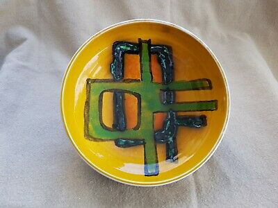 POOLE DELPHIS BOWL Shape No.88 Yellow Green & Charcoal. Ingrid Hammond? VGC. • 14.99£