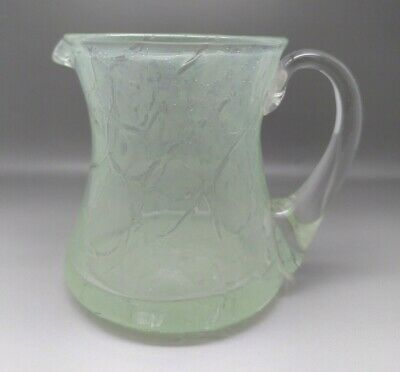 Vintage Art Deco Green Crackle Glass Jug • 7£