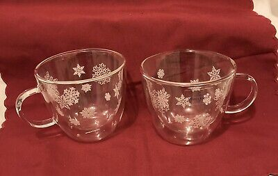 Villeroy & Boch Handmade Glass Insulated Cups Mulled Wine 400ml Snowflake Design • 4.99£