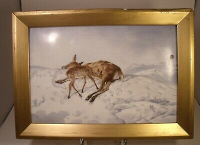 Royal Worcester Hand Painted Porcelain Plaque Deer With Fawn In Snow Unsigned • 94.99£