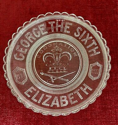 Vintage Commemorative Pressed Glass Plate Bowl King George VI Coronation 1937 • 5£