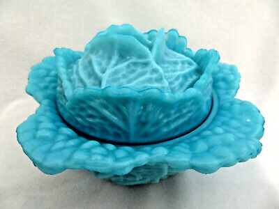 Portieux Vallerysthal France Turquoise Opaline Milk Glass Covered Cabbage Bowl • 44.76£