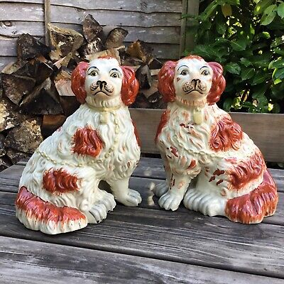 Vintage Staffordshire Pottery Large Pair Of King Charles Spaniel Fireside Dogs • 125£