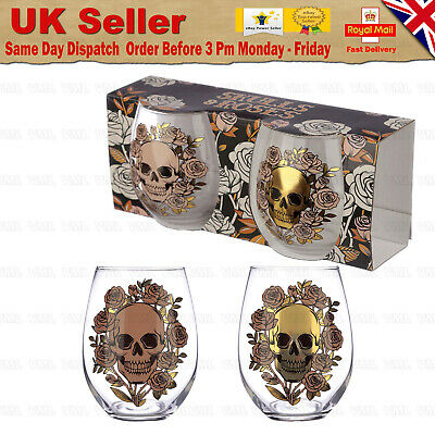 💀Skulls And Roses Set Of 2 Glass Tumblers Gothic Design Gin Glass Present 500ml • 12.99£