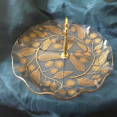 Vintage  Chance Glass  Gold Calypto Pattern Fluted  Cake Plate • 8.99£