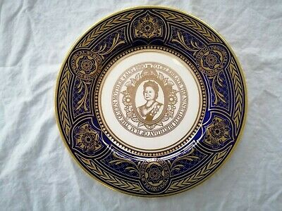 Caverswall Queen Mother 90th Birthday Plate 1990 Blue Gold Number 18 Of 250 • 20£