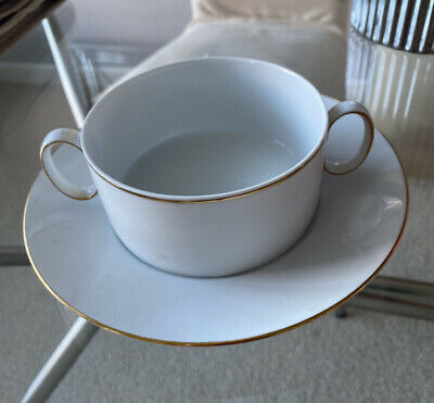 Thomas China Soup Bowl & Saucer, White With Gold Band. Set Of 2 • 10£