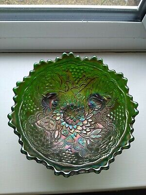 Vintage Fenton Green  Carnival Glass Footed Bowl • 20£