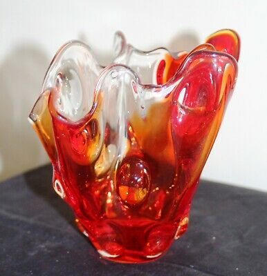 Folded Form Red & Clear  Art Glass Vase • 9£