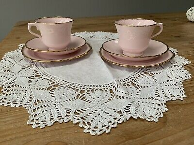 Vintage Royal Vale Bone China Tea Cup Saucer And Side Plate Trio ~ Pink & Gold • 10£