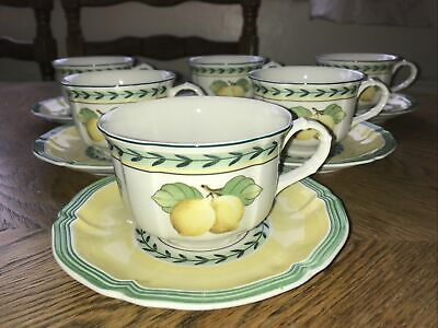 Villeroy & Boch French Garden Fleurence Set Of 6 Cups & Saucers VGC • 89£