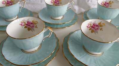 Exquisite Aynsley Crocus Blue Teacup Saucer And Side Plate Trio Set • 40£