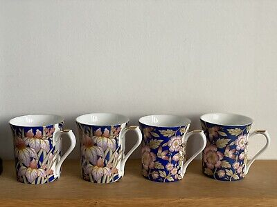 4 X Vintage Queens 'Indigo' Bone China Cups Blue, Floral, Rose Gold A.J Heritage • 8.50£