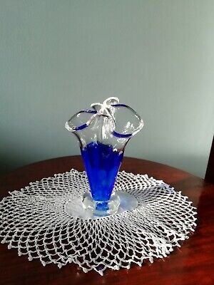 Vintage Clear And Blue Glass Bud Vase • 2.99£