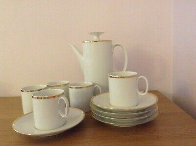 Coffee Set, Thomas Porcelain, Coffee Pot, 5 Cups/saucers, White With Gold Band • 28£