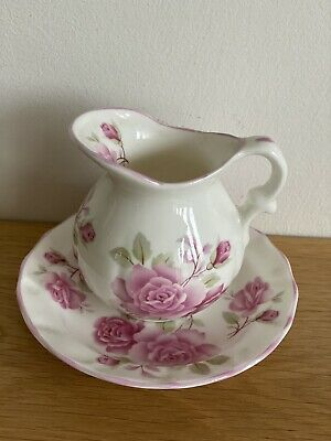 Fenton China Company Miniature Decorative Jug & Saucer Pink Rose Decoration • 4.99£