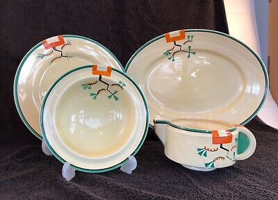 Clarice Cliff 4 Hand Painted Ravel Pattern Peace's • 39.50£