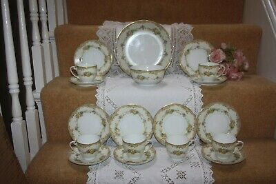 Gorgeous Vintage Deco Noritake  China Tea Set Cream Green Floral 1930's  2 • 60£