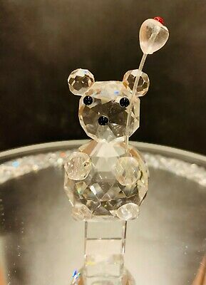 Teddy With Balloon Crystal Glass Ornament-Figurine-NEW IN BOX-Cute Gift • 3.95£